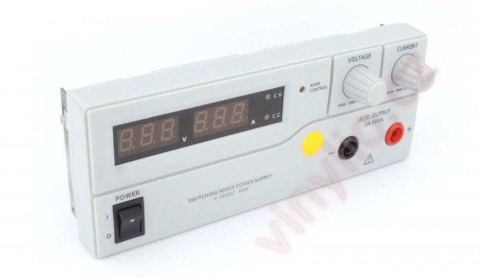 Laboratórny zdroj HCS-3600 - finálny stav predného panelu