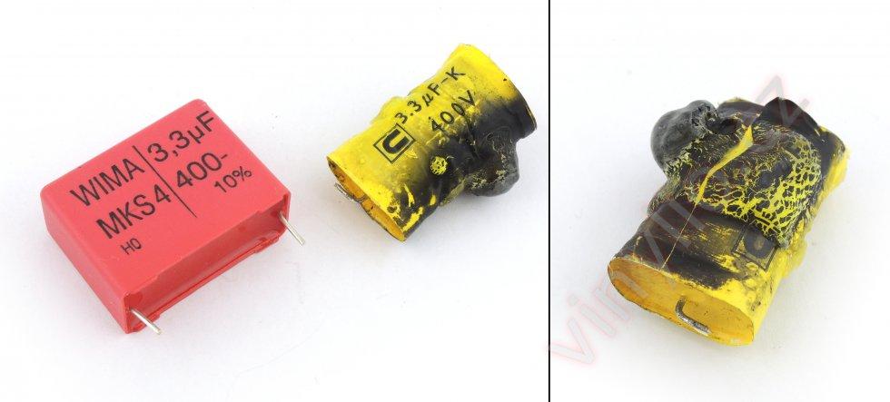 Nový kondenzátory WIMA a poškodený pôvodný
