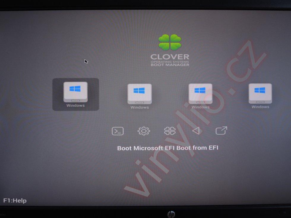 Výber možnosti štartu z NVMe disku cez Clover Boot Manager
