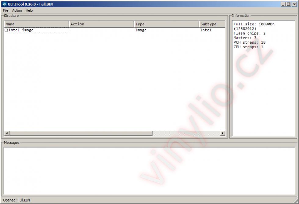 Otvorený BIOS v staršej verzii UEFITool