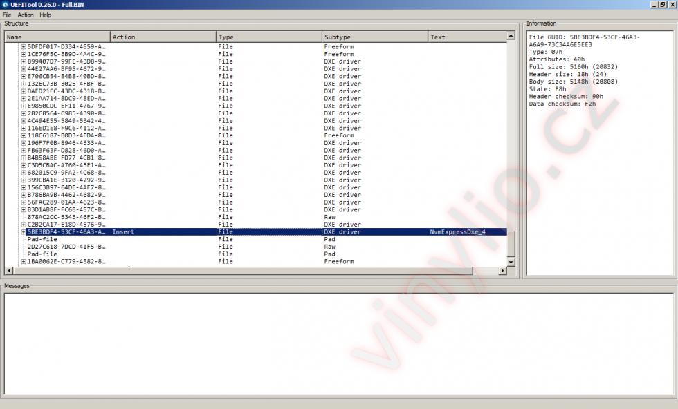 Vložený nvme modul v upravenom BIOSe