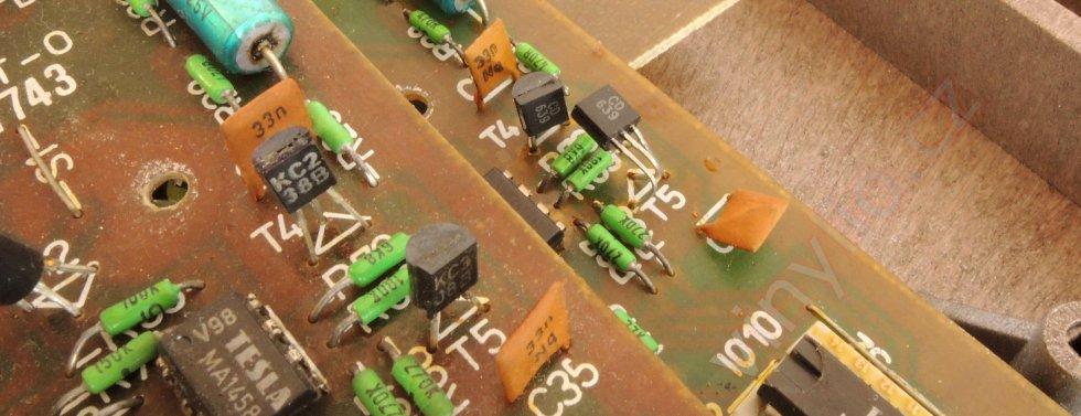 """Tesla MC600Q - """"napadnutie kutilom"""". Porovnanie originál osadenia tranzistormi rôznych druhov voči nahradeným identickým CD 639"""