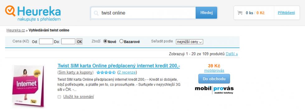 Najlacnejšia SIM karta vyhľadaná na Heureka.cz