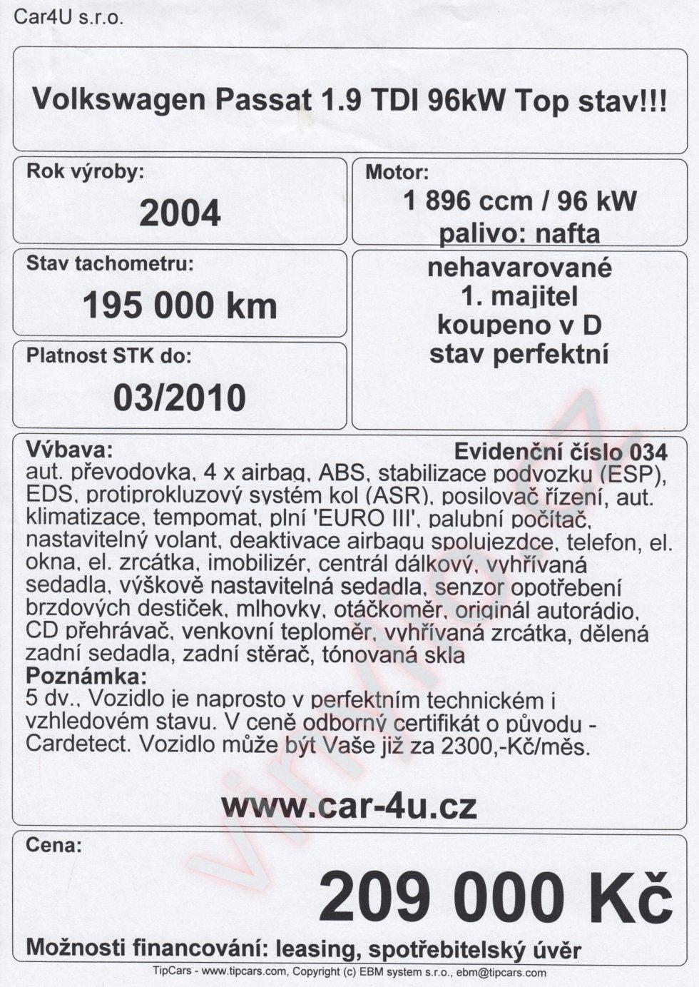 Inzerát popisujúci auto za čelným sklom