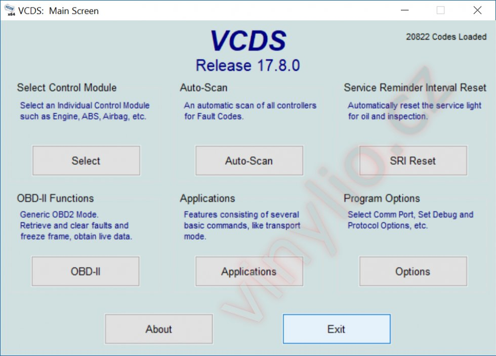 Hlavná obrazovka VCDS