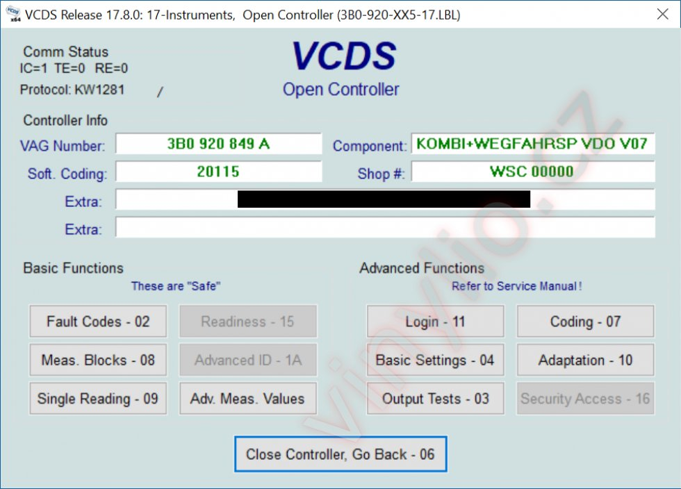 VCDS - modul instruments