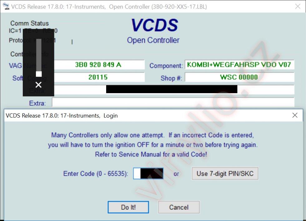 VCDS - prihlasovanie / zadávanie PIN kódu