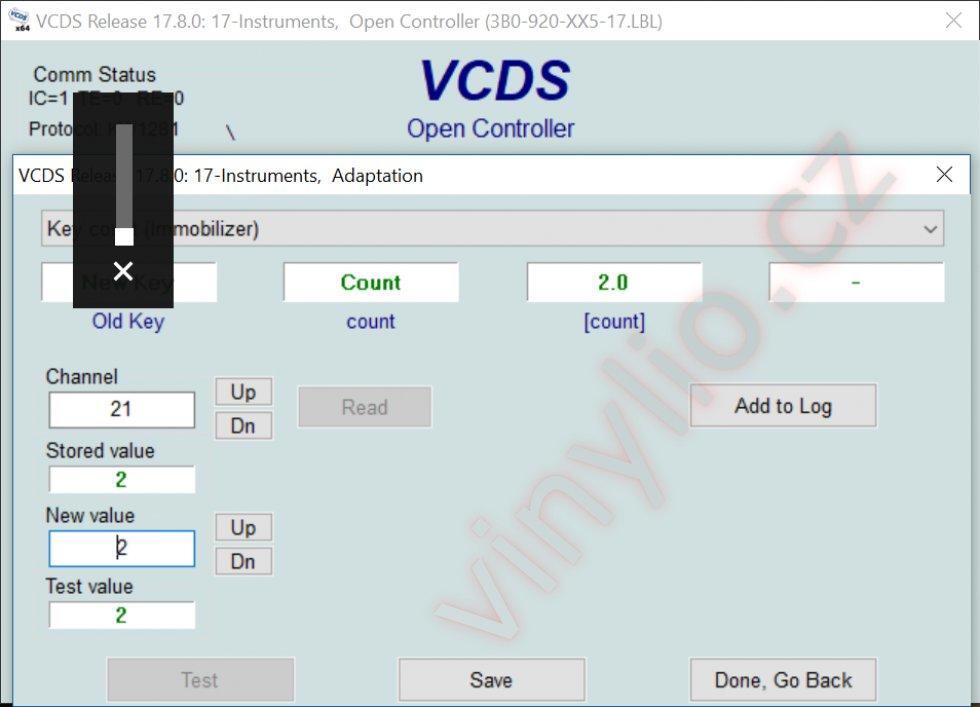 VCDS - samotné kódovanie, zadávanie počtu kľúčov